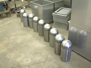 Mild steel dome capped cylinders with circular seem welding