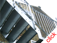 Fire Escape - Norwood London: Joint second floor access to flat and fire escape fabricated from galvanised steel