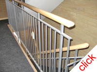 Stair Rails - Rayners Park London: Mild steel stair and landing balstrades for 2 blocks of London flats, galvanised and powder coated with wooden railings